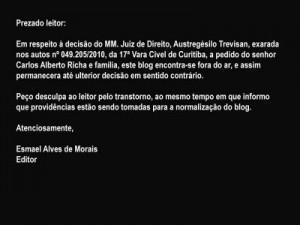 tela_comunicado censura Esmael Moraes